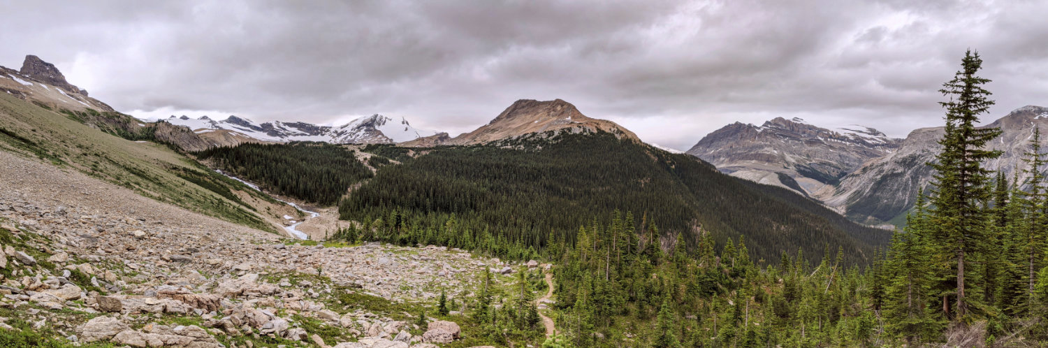 Looking down to Twin Falls Creek from the Whaleback Trail. There are huge mountains and a large bolder field.