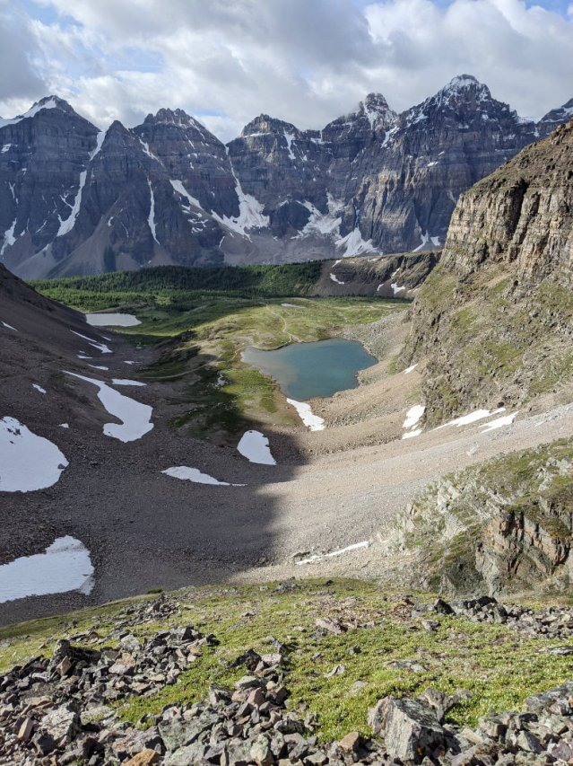 Views down to Minnestimma Lake and the Valley of the Ten Peaks