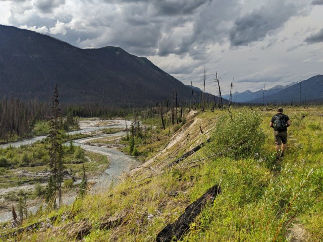 Views back down the Simpson River