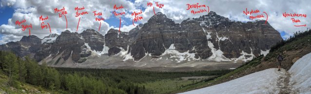 Panorama of Valley of the Ten Peaks labelled