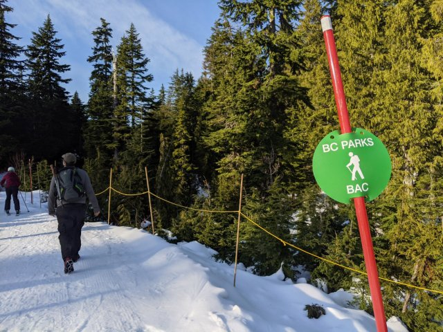 The trail starts at the base of Eagle Express Chairlift