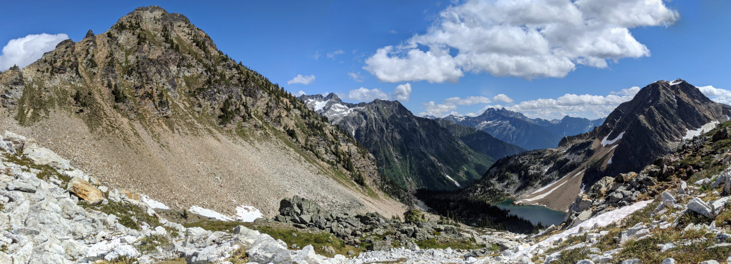 Looking back to Jade Lake and Mount Williamson from halfway up the mini peak above Jade Pass.