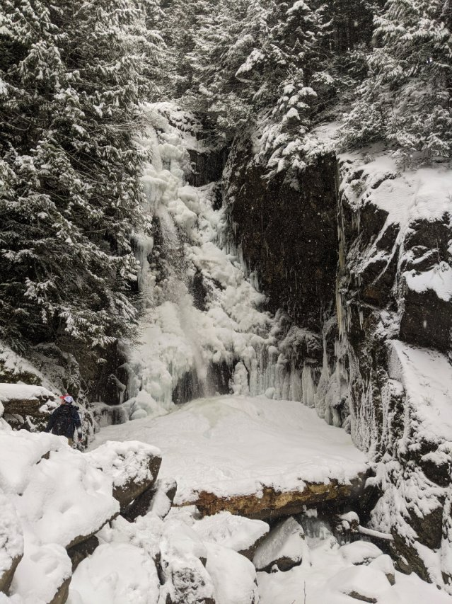 Ice covered Norvan Falls