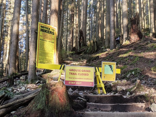 Grouse Grind Trail is closed in winter