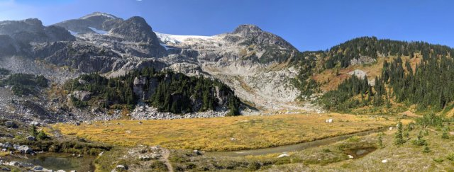 Panorama of Rainbow Mountain and alpine meadows