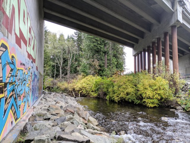 Head under the highway then along the river