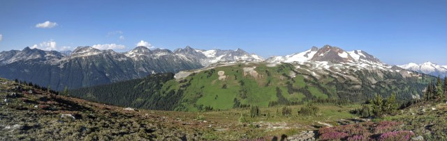 Views from Oboe Summit -Russet Lake is over that green ridge