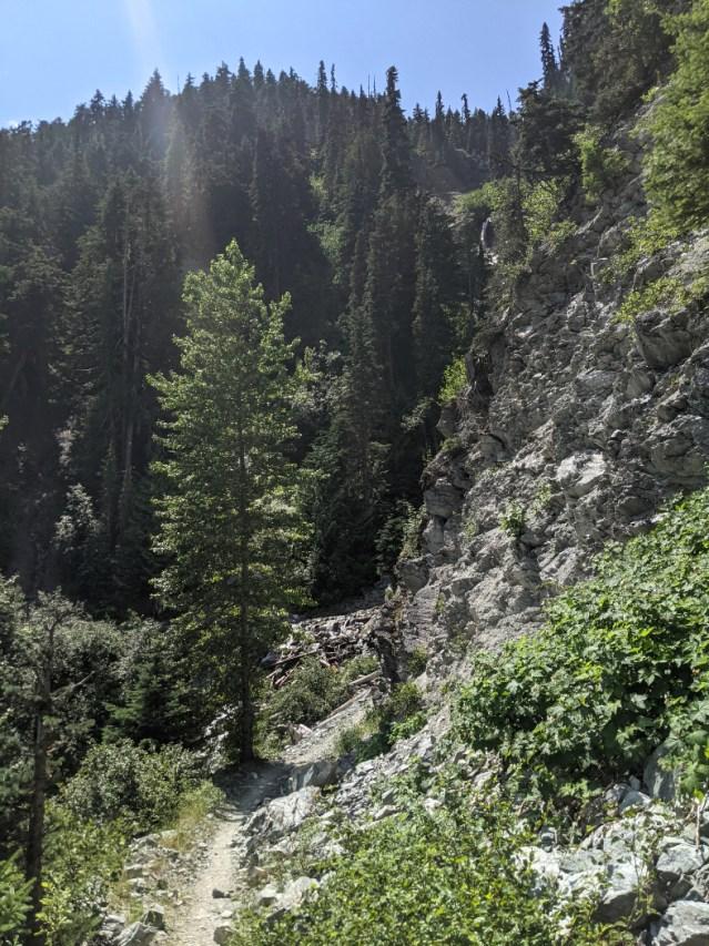Steep trail beyond Harmony Creek