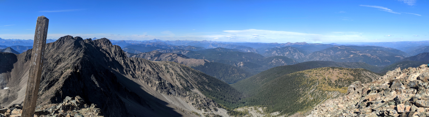 Panorama from Frosty Mountain down to larches
