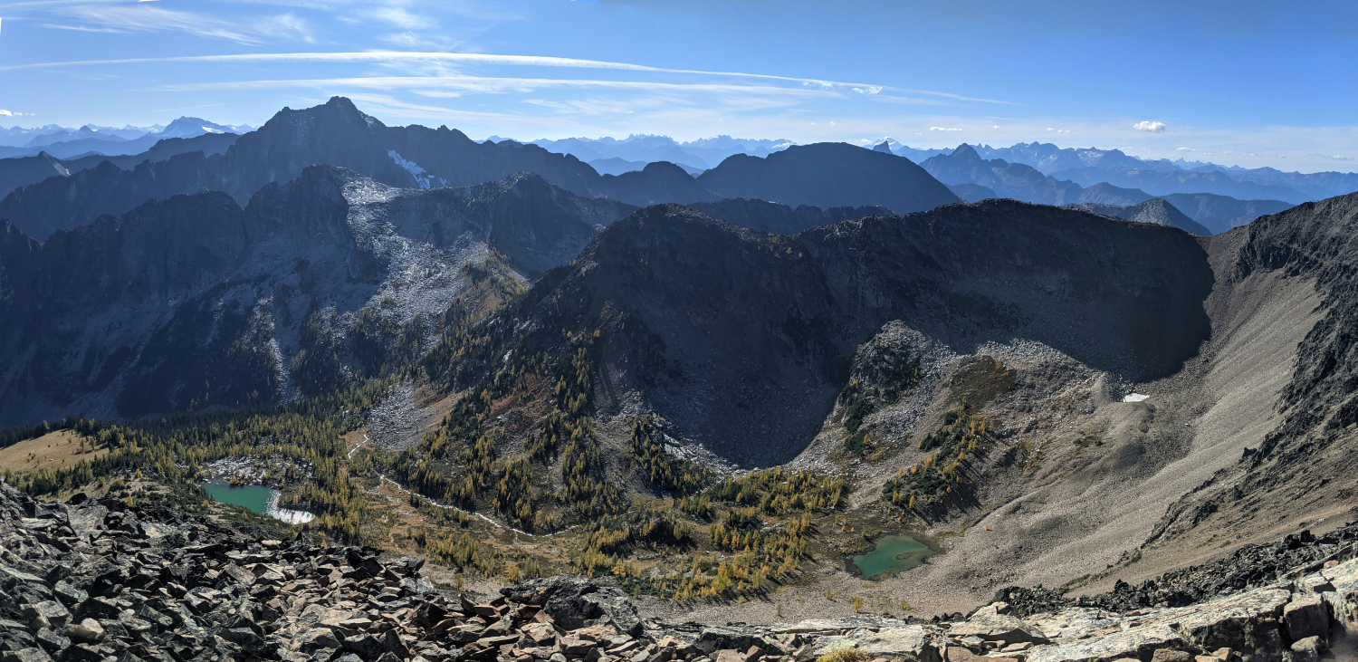 View of the hidden valley below Frosty Mountain summit
