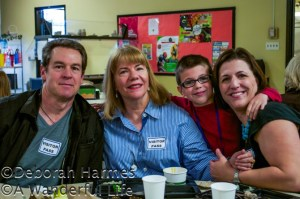 Mark, Deborah, Johnny, and his mother Jennifer having lunch at the Walden School.