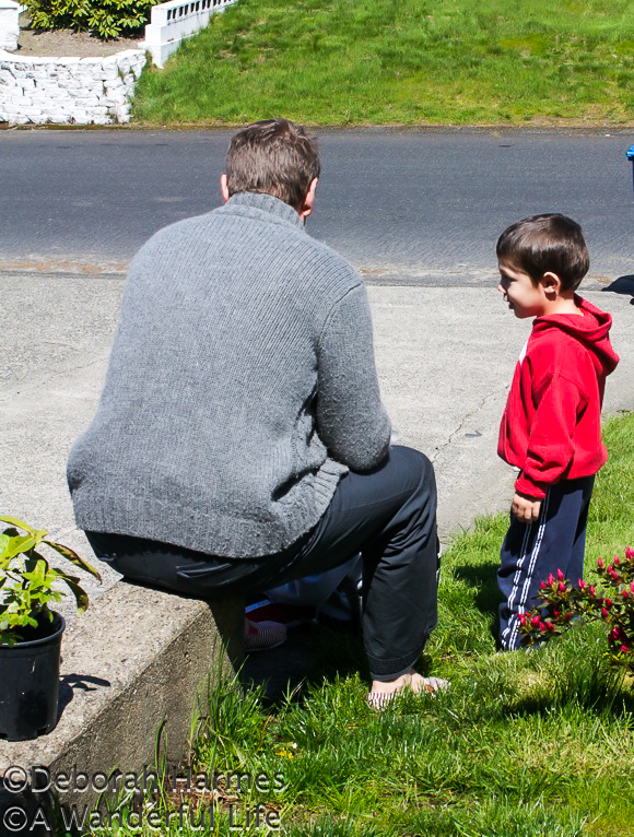 3 year old Ryan chatting with Mark on a rare & sunny Washington State day.
