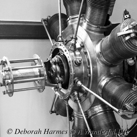 Close-up sideview  of 1910 French designed airplane engine.