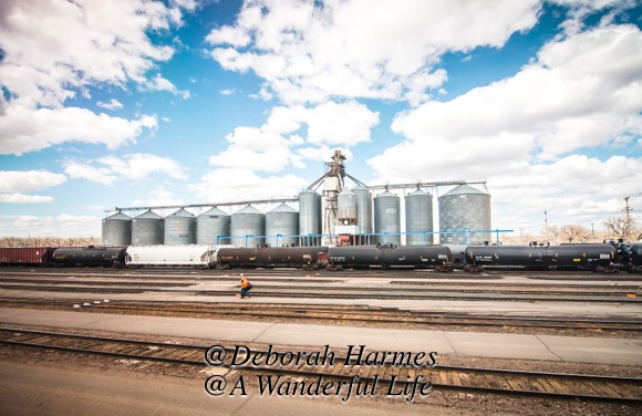 With bright blue skies and open fields beyond, these grain silos with rail lines in the foreground represent the movement of food products across the USA.