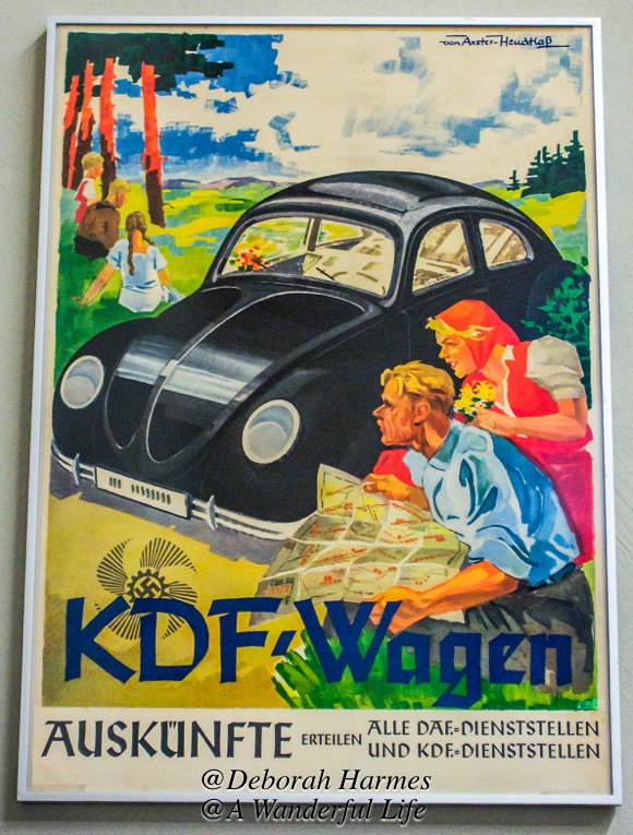 And of course, the idea was heavily promoted that once this temporary messiness of war was over, all good German working families would have prosperity and their own car for drives in the countryside. Recognise the early Volkswagon?