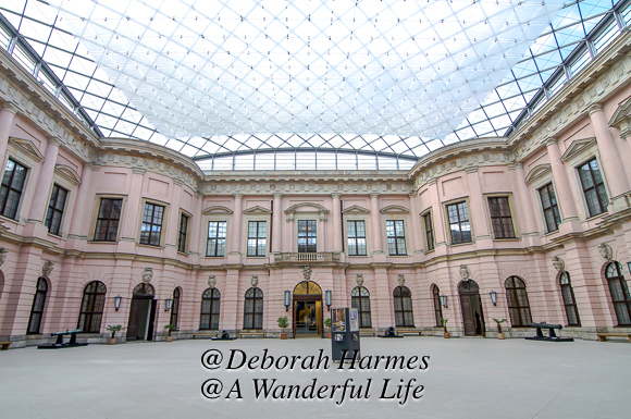 The courtyard of the German Historical Museum, established in the historic Zeughaus building, contains an I.M. Pei designed roofline over the large courtyard.