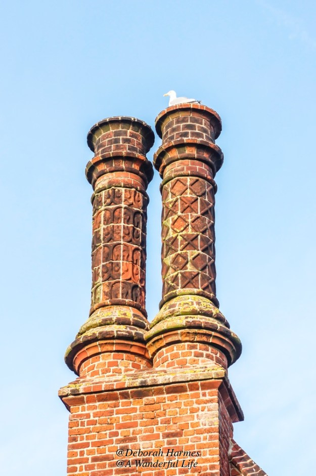 A seagull sitting atop one of the medieval brick chimneys on Moot Hall,.
