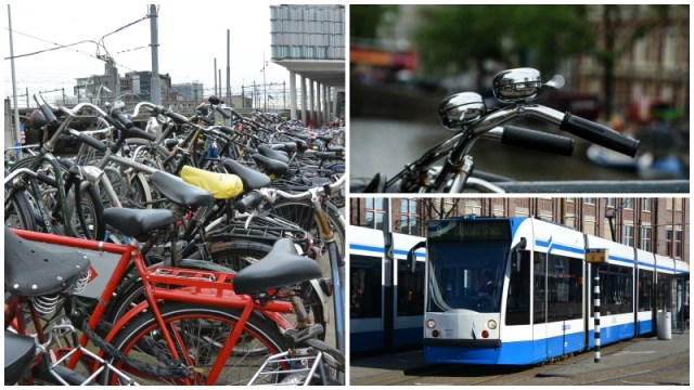 Bikes and trams in Amsterdam