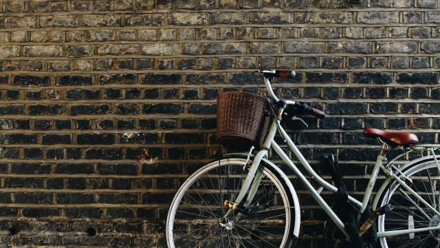 bike on wall in Amsterdam