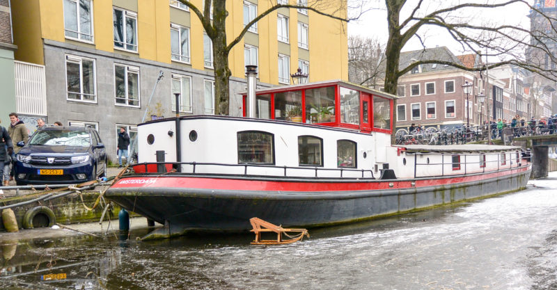 Sled on a frozen Amsterdam canal