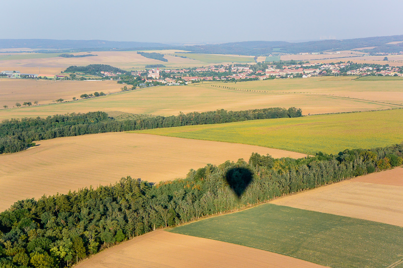 Shadow of our balloon over the Moravia landscape