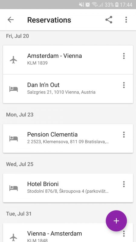 Google Trips Reservations
