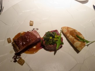 Duck with Pear three ways (Seared breast, terrine of leg, pancake of wing and neck) - Cinq Senitits, Barcelona