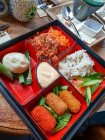 Bento Box (Pokébowl, Mix of Croquettes, Steamed Bun, Pulled Pork, Ginger Mayonnaise) -- Mr. Mofongo, Groningen, Netherlands