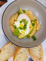 Hummus with avocado and egg -- Cafe Pilat, Brno, Czech Republic