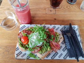 Poached egg and bacon on avocado toast-- Barfood, Hilversum, Netherlands