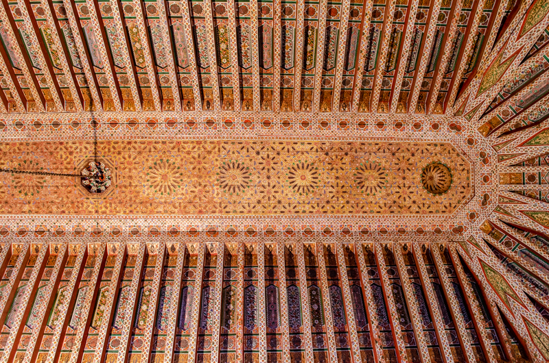 Marrakech palace wood ceiling
