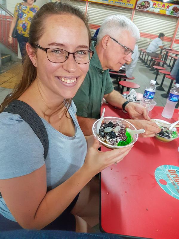 Jessica eating Cendol
