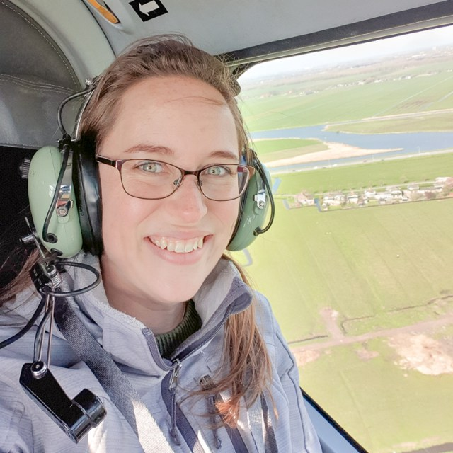 Jess in helicopter over Holland