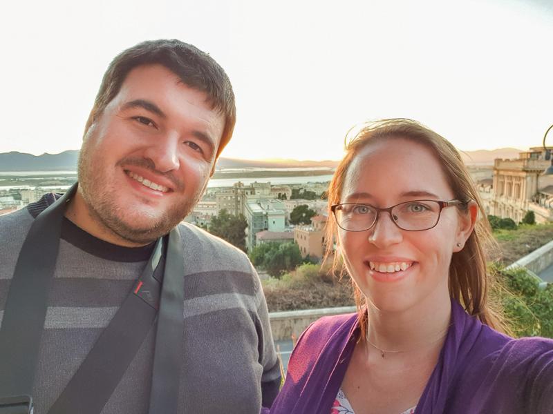Ssean and Jess sunset in Cagliari