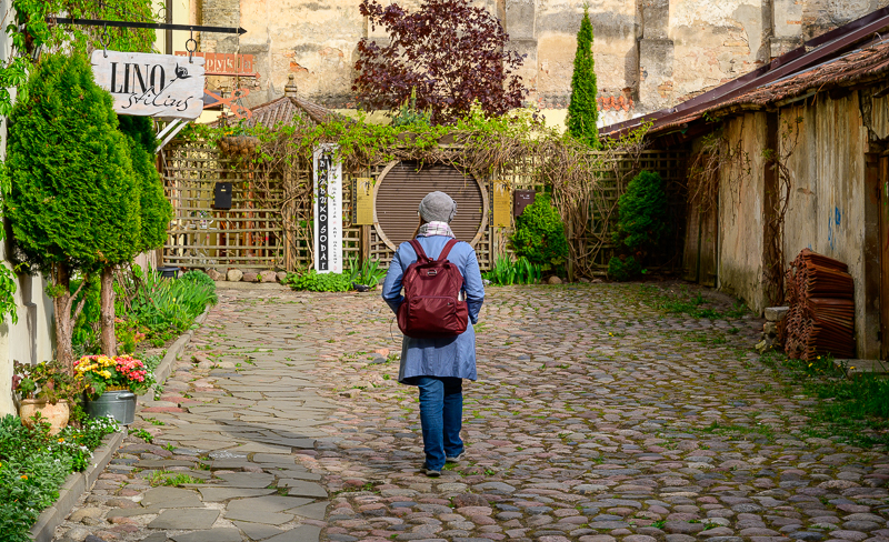 Vilnius street with Pacsafe backpack