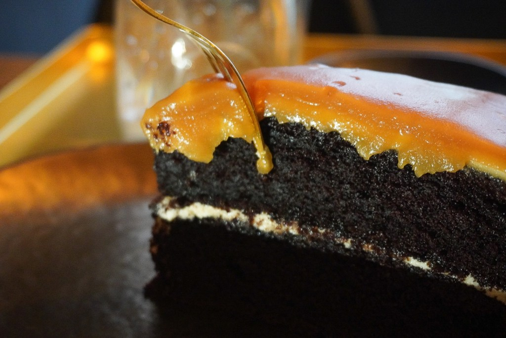 sea salt chocolate cake close up