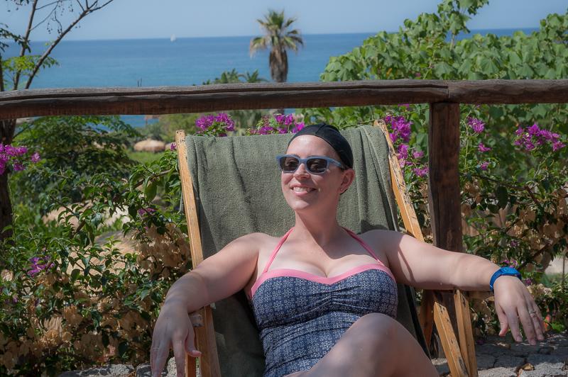 Jessica relaxing at Giardini Poseidon