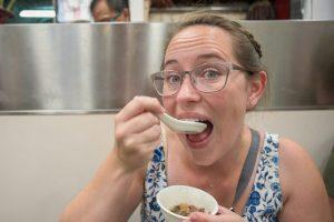 Jessica eats snake soup in Hong Kong