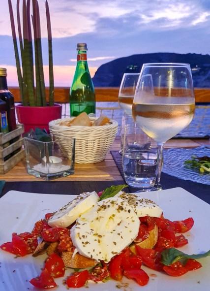 Sunset dinner with bruschetta
