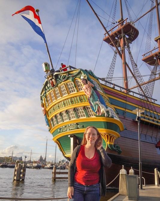 Jessica at the replica ship in Amsterdam