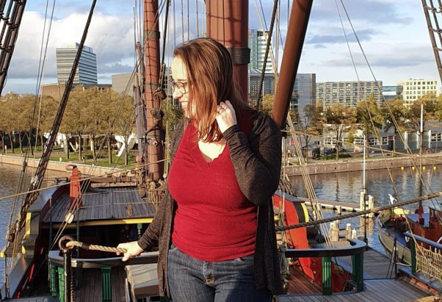 Jessica on ship in the Eastern Docklands
