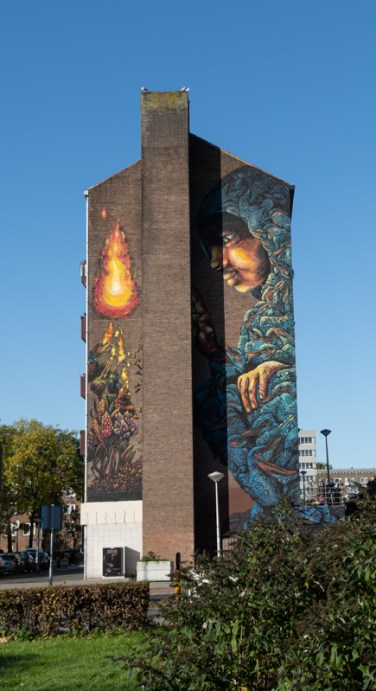 Tall building with Street Art in Amsterdam Nieuw West