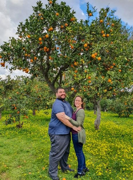 Sean and Jessica in Orange Orchard in Sicily