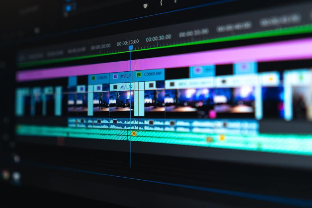 video editor on monitor