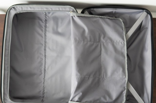 interior of monument bag with separator flap open