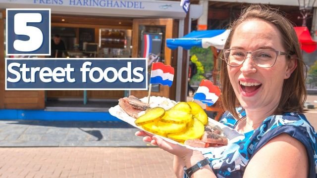 Jessica holding herring with title of 5 street foods