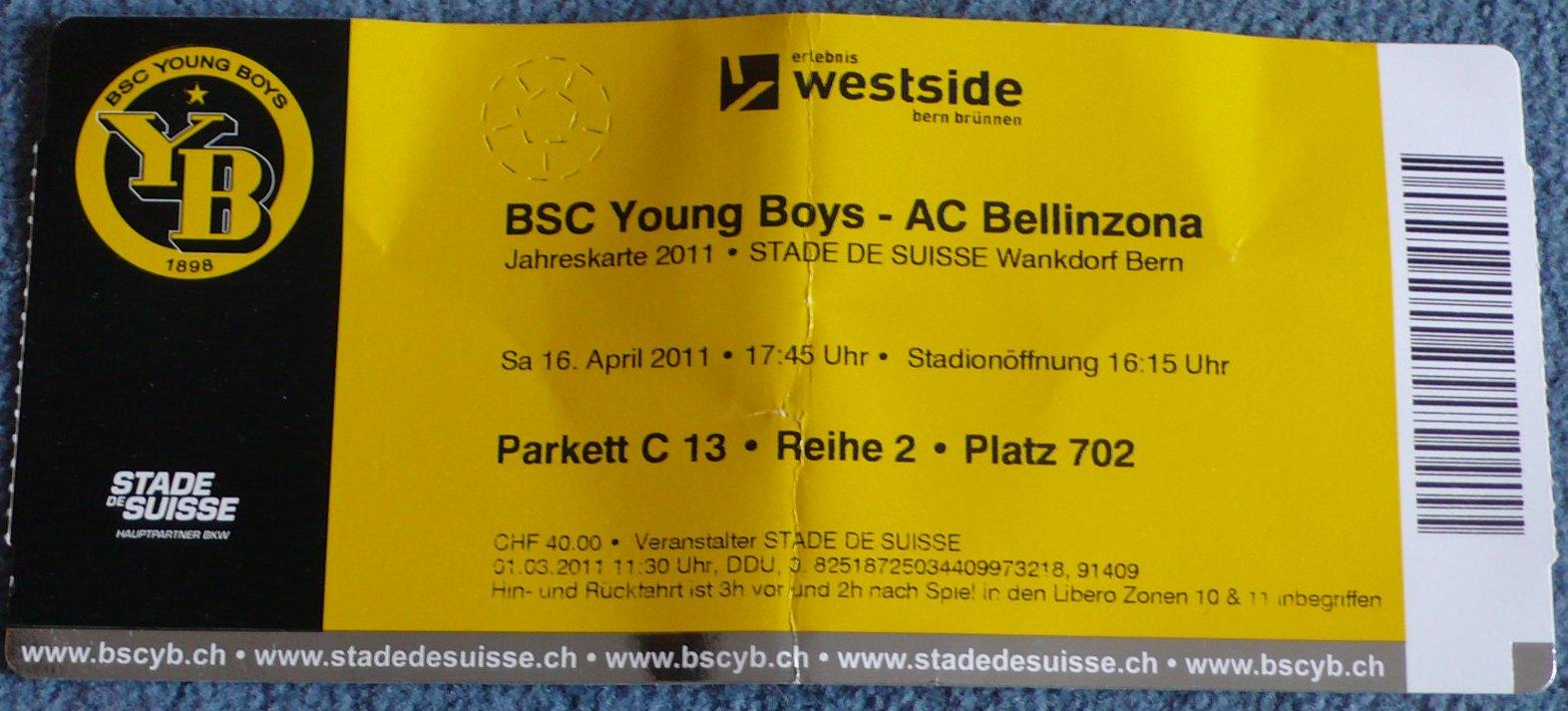 Away-Trip | 16.04.2011 Young Boys Bern – Ac Bellinzona Axpo Super League