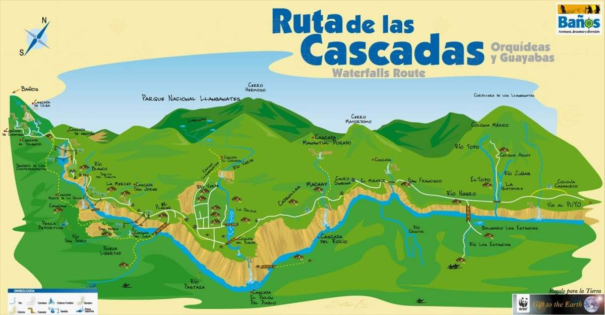 Map of Waterfall Route biking path Baños Ecuador