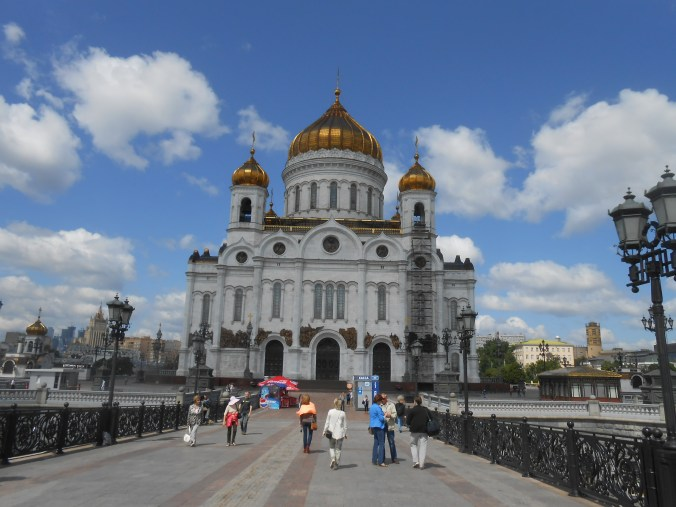 Tilted picture of the Cathedral of Christ the Saviour, also known as where I almost passed out in public // Moscow, Russia