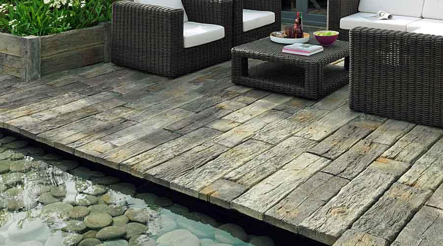 garden patio log effect stepping